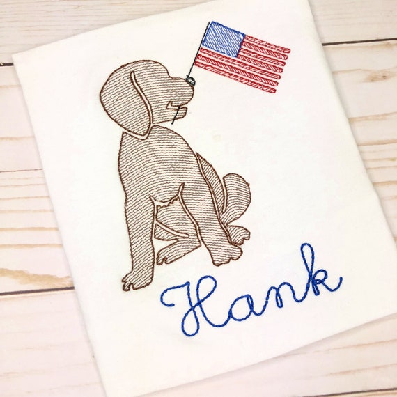 Personalized Patriotic Dog Embroidered Sketch Shirt - Embroidered Dog with Flag, July 4th Shirt, All American