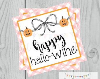 Halloween Printable Tags, Instant Download, Happy HalloWINE, Square Gift Tags, Printables, Happy Halloween, Wine Tag