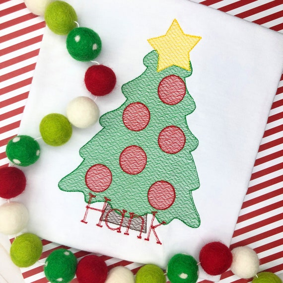 Personalized Christmas Tree Shirt, Vintage Stitch Tree with Star Shirt, Christmas Embroidery Shirt, Vintage Christmas Tree, Boy Shirt