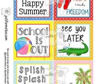 May Bundle Printable Tag Bundle, Digital Tags, Gift Tag, Summer Tag, Pintable, Download, Gift Tags, Patriotic Tag, End of School, Pool Party