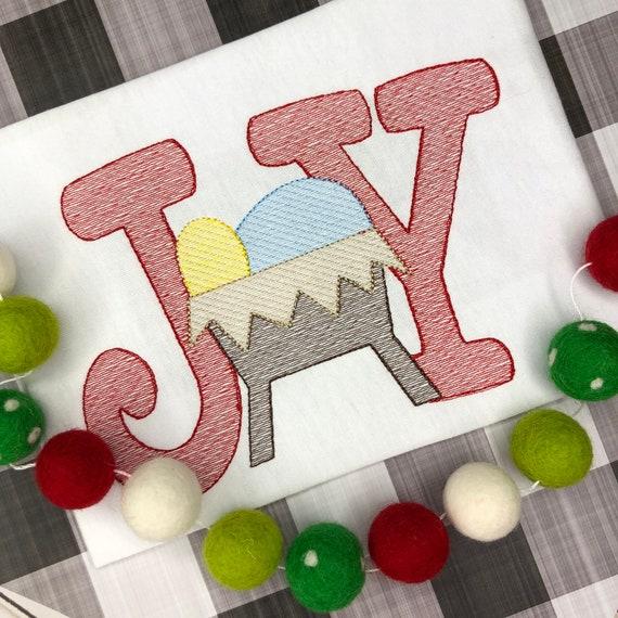 Joy to the World Christmas Nativity Shirt, Vintage Stitch Manger Scene, Christmas Embroidery Shirt,Vintage Nativity, embroidered