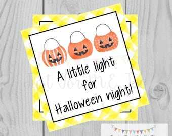 Halloween Printable Tags, Instant Download, Happy Halloween Tags, Square Gift Tags, Jack-O-Lantern, Light for Halloween Night