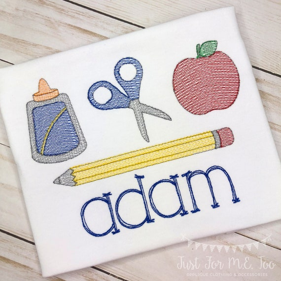 Personalized Back to School Supply set Sketch Stitch Embroidery Shirt, Glue, Scissors, apple, Pencil