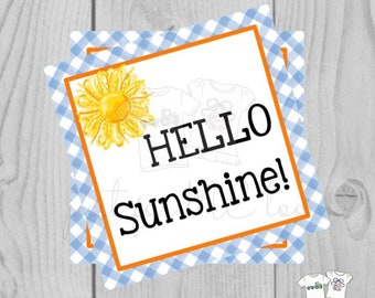 Printable Tags, Hello Sunshine, Instant Download, Friendship Tags, Teacher Tags, Lunchbox Note, Student Tag, Square Tags, Brighten your Day