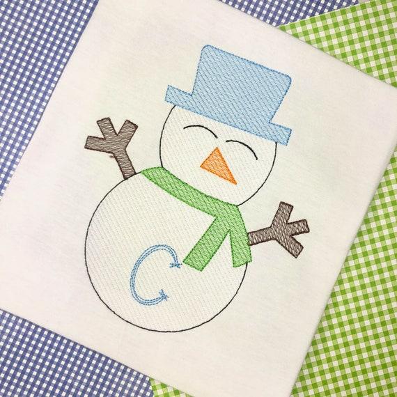 Personalized Snowman Shirt, Sketch Snowman, Winter Applique, Snowman Applique, Boy Snowman, Snow Shirt, Winter Shirt