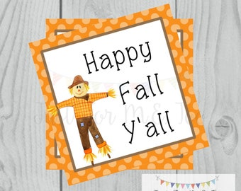Fall Printable Tags, Instant Download, Fall Tags, Pumpkin Gift Tags, Birthday, Lunchbox, Pumpkin, Printable, Scarecrow, Happy Fall Y'all