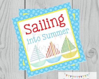 Instant Download Printable Sumer Tag, Summer Party Tag, Summer Printable, Pool Party, Summer Tag, Instant Download, End of School, Sailboat