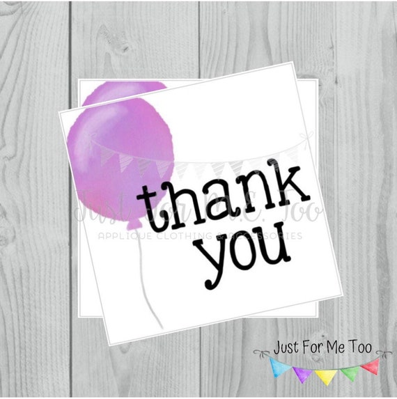 Instant Download Printable Thank You Tags, Printable Thank You Party Tags, Purple Balloon Tag, Birthday Favor Tag