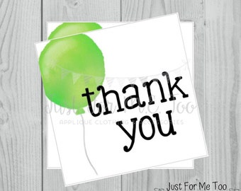 Instant Download Printable Thank You Tags, Printable Thank You Party Tags, Green Balloon Tag, Birthday Favor Tag