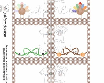 Thanksgiving Printable Tags, Instant Download, Blank Tag, Turkey Tags, Printable, Thanksgiving, Place Cards, Lunchbox Notes