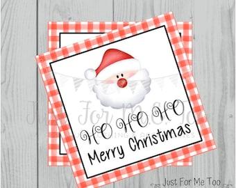 Christmas Printable Tags, Instant Download, Christmas Tags, Square Gift Tags, Merry Christmas, HO HO HO Tag, Santa Tag