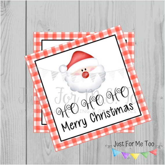 Christmas Printable Tags, Instant Download, Christmas Tags, Square Gift Tags, Merry Christmas, HO HO HO Tag, Santa Tag