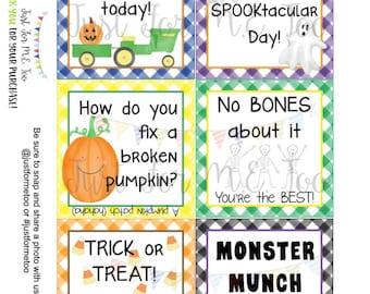 Halloween Lunchbox Notes Printable Tags, October, Fall School Tags, School Tag, Digital Download, Pumpkin, Ghost, Lunch Joke