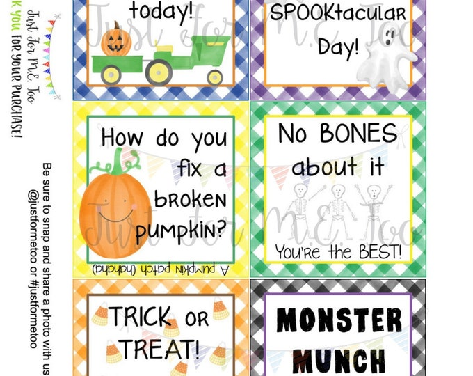 Featured listing image: Halloween Lunchbox Notes Printable Tags, October, Fall School Tags, School Tag, Digital Download, Pumpkin, Ghost, Lunch Joke
