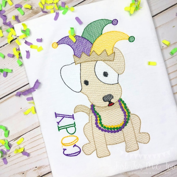 Personalized Mardi Gras embroidery Shirt, Mardi Gras Shirt, King Cake applique, Vintage Mardi Gras Jester Puppy Shirt, Mardi Gras Beads