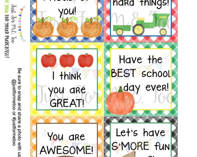 Featured listing image: Fall Lunchbox Notes Printable Tags, September, Fall School Tags, School Tags, Lunchbox Notes, Digital Download, Pumpkin, Football, Cheer