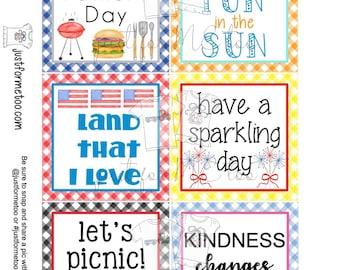 June Bundle Printable Tag Bundle, Digital Tags, Gift Tag, Summer Tag, Pintable, Download, Gift Tags, Patriotic Tag, Father's Day, Picnic