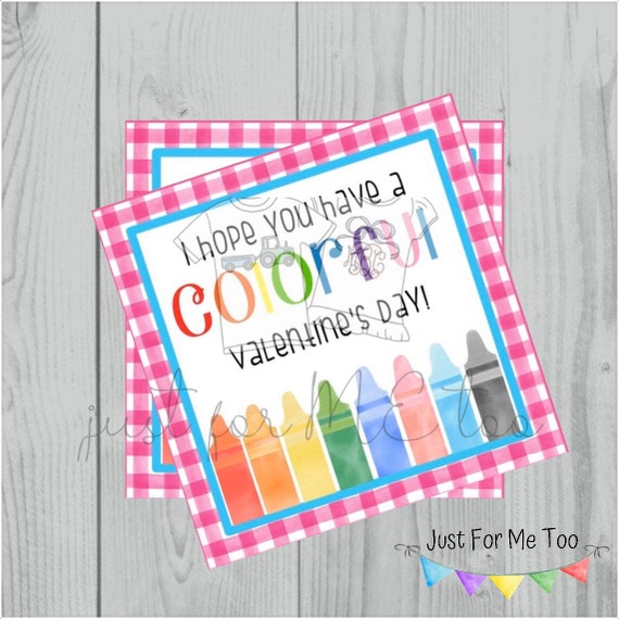 Valentine Printable Tags, Instant Download, Valentine's Day Tags, Square Gift Tags, Classroom Tag, Crayon Tag, Treats, Crayons, Colorful