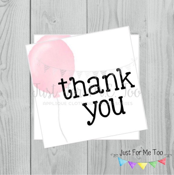 Instant Download Printable Thank You Tags, Printable Thank You Party Tags, Pink Balloon Tag, Birthday Favor Tag