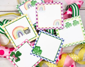 March Printable Tags, Instant Download, Spring Blank Tags, Square Gift Tags, Rainbow, Lunchbox, Shamrock, Printable, Gift, Treats