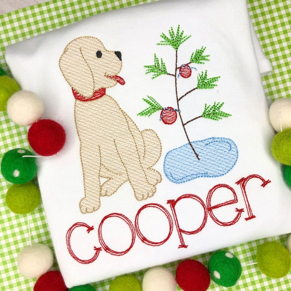 Personalized Christmas Dog Tree, Vintage Stitch Tree with dog, Christmas Embroidery Shirt, Vintage Christmas Embroidery, Boys