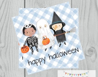Happy Halloween Printable Tags, Instant Download, Trick or Treat Tags, Square Gift Tags, Halloween Friends, Printable, Happy Halloween, Blue