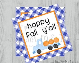 Fall Printable Tags, Instant Download, Fall Tags, Pumpkin Gift Tags, Birthday, Lunchbox, Pumpkin, Printables, Boys