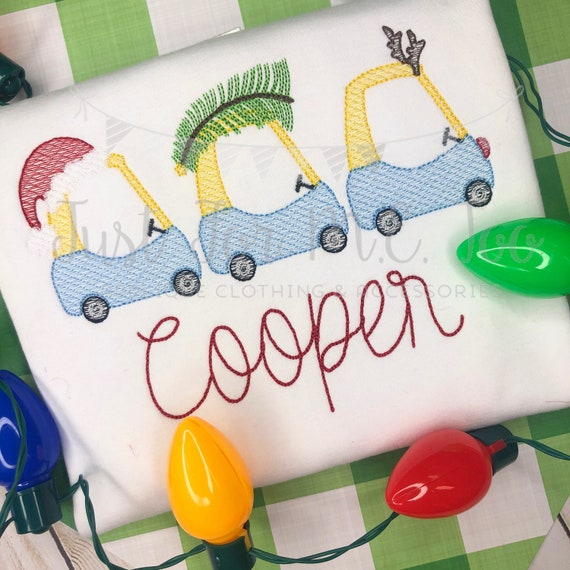 Personalized Christmas Car Applique shirt, Christmas Coupe 3 in a row, Christmas Coupe, tree, lights, reindeer, Vintage Christmas