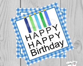 Happy Birthday Digital Tags, Printable Party Tags, Birthday Printable, Happiness Tags, Birthday Tags, Gift Tags, Party Tags, Boy Birthday