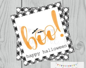 Halloween Printable Tags, Instant Download, Boy Boo Tags, Square Gift Tags, Black Gingham, Lunchbox, BOO Tag, Printable, Happy Halloween