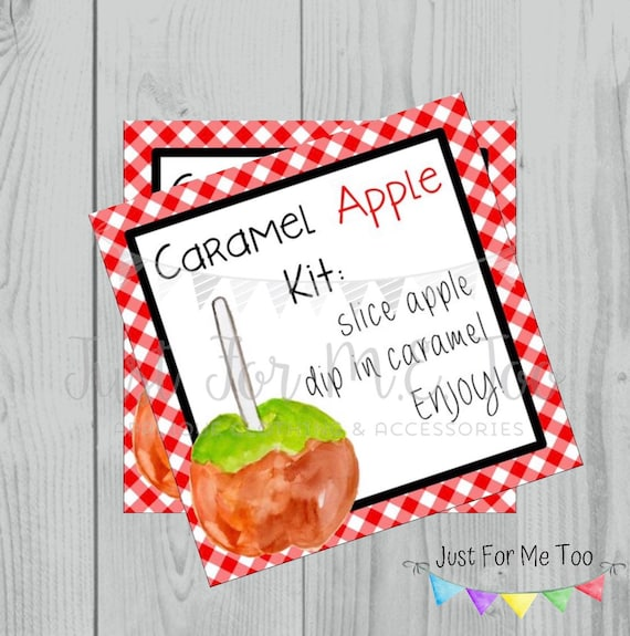 Caramel Apple Printable Tags, Caramel Apple Kit, Instant Download, Fall Tags, Teacher Tags, Lunchbox Note, Student Tag