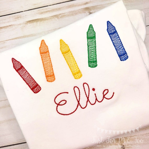 Personalized Back to School Crayon Sketch Stitch Embroidery Shirt