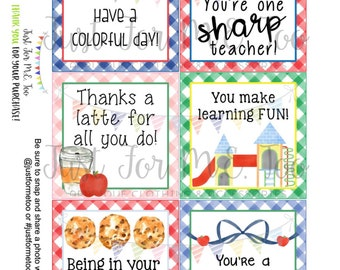 Back to School Printable Tags, Instant Download, Teacher Tags, Square Gift Tags, Teacher Appreciation, Teacher Gifts, Small Gifts, Treats