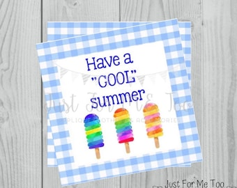 Summer Printable Tags, Have a Cool Summer, Instant Download, Summer Tags, Popsicle Tags, Summer