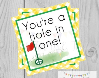 Printable Tags, Instant Download, Golf Tags, You're a Hole in One Tags, Square Gift Tags, Classroom Tag, Gold, Hole in One, Sports