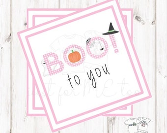 Halloween Printable Tags, Instant Download, Girl Ghost Tags, Square Gift Tags, Pink Gingham, Lunchbox, BOO Tag, Printable, Girl