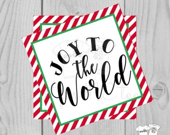 Joy to the World Christmas Printable Tags, Instant Download, Square Gift Tags, Merry Christmas, Christmas Tag, Instant Download