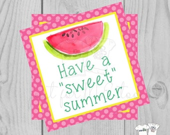 Summer Printable Tags, Have a Sweet Summer Summer, Instant Download, Summer Tags, Watermelon Tags, Summer, Gift Tag, Digital Download