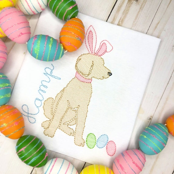 Personalized Easter Shirt, Easter Doodle Dog Sketch Shirt, Bunny Doodle Dog, Easter Hunt Shirt, Dog Applique