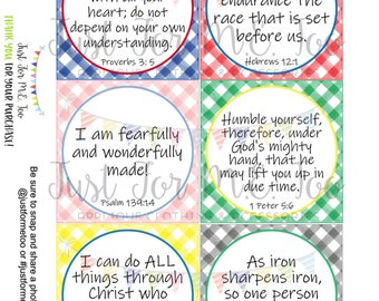 Verse Cards, Printable Tags, Lunchbox Notes, Instant Download, Bible Study, Bible Verse Cards