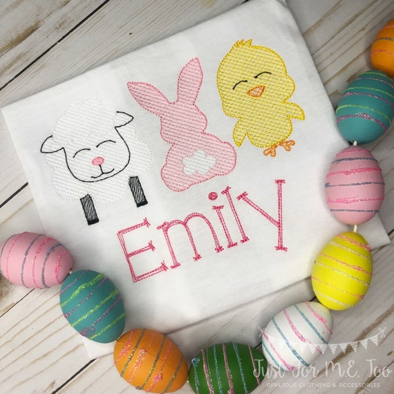 Personalized Easter trio Sketch Shirt or Bodysuit, Embriodered, Applique, Girl Shirt, Easter Shirt, sheep, bunny, chick