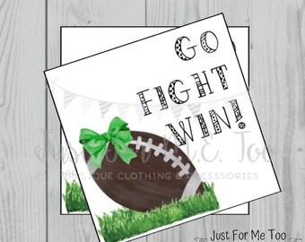 Football Printable Tags, Go Fight Win, Instant Download, School Tags, Cheerleading Tags, Cheerleader, Football
