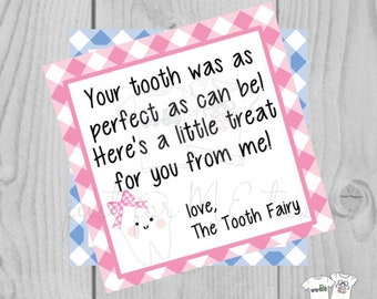 Tooth Fairy Printable Tags, Instant Download, Tooth Tags, Square Gift Tags, Lost Tooth Printable, Tooth Printable