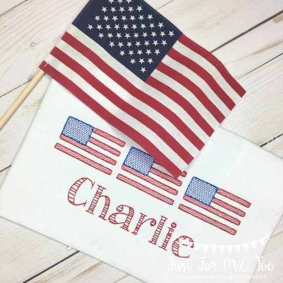 Personalized Flag Embroidered Shirt or bodysuit