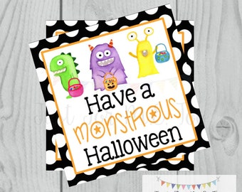 Halloween Printable Tags, Instant Download, Monster Halloween Tags, Square Gift Tag, Lunchbox, Printable, Happy Halloween