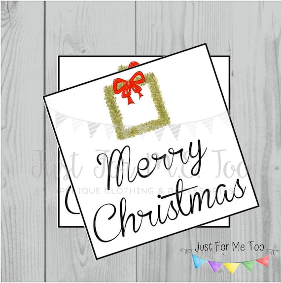 Merry Christmas with Wreath Printable Tags, Instant Download, Christmas Tags, Square Gift Tags, Merry Christmas, Lunchbox, Printables