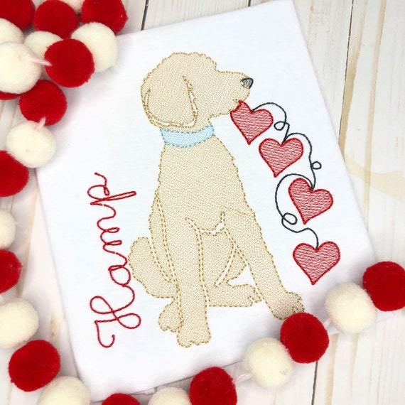 Personalized Valentine's Day Shirt, Valentine Doodle Dog Sketch Shirt, Heart Doodle Dog, Valentine Shirt, Dog Applique