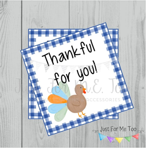 Thanksgiving Printable Tags, Instant Download, Thankful for You, Turkey Gift Tags, Printable, Thanksgiving, Royal Blue Gingham