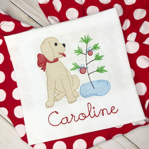 Personalized Dog with Christmas Tree Shirt, Vintage Stitch Tree with Dog, Christmas Embroidery Shirt, Vintage Christmas Embroidery, Girls