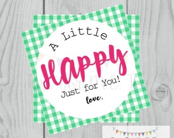 Happy Printable Tags, Instant Download, Friend Tags, Square Gift Tags, Classroom Tag, Treats, Lunch Box, Camp Notes, Snack Tag